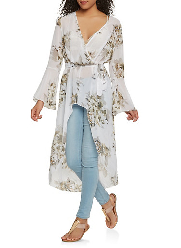 Floral Faux Wrap High Low Maxi Top | Tuggl