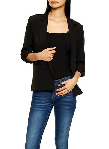 Lightweight Tab Sleeve Blazer,BLACK,large