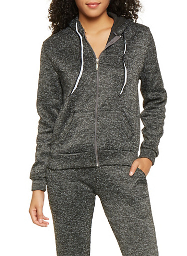 Fleece Lined Zip Up Sweatshirt,CHARCOAL,large