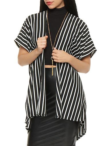 Short Sleeve Striped Kimono,BLACK/WHITE,large