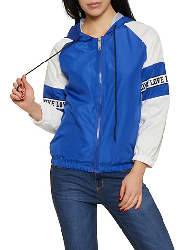 Love Tape Windbreaker Jacket,RYL BLUE,large
