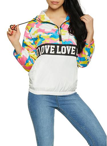 Love Graphic Camo Color Block Windbreaker,WHITE,large