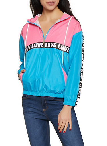 Love Tape Half Zip Windbreaker Jacket by Rainbow