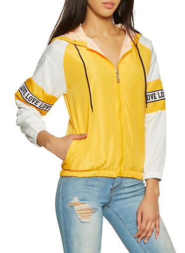 Love Tape Windbreaker,MUSTARD,large