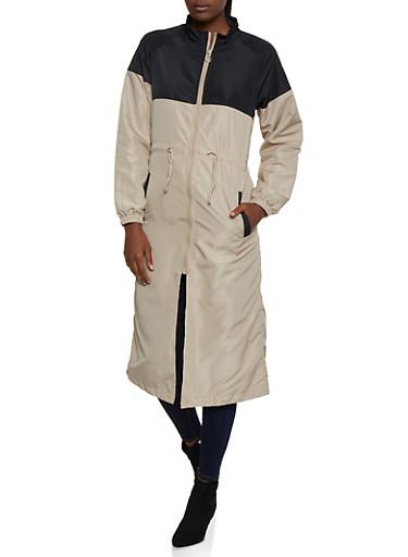 Long Color Block Windbreaker Jacket,BEIGE,large