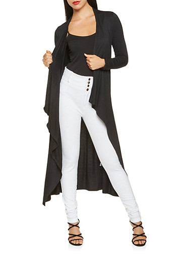 Solid Flyaway Duster,BLACK,large