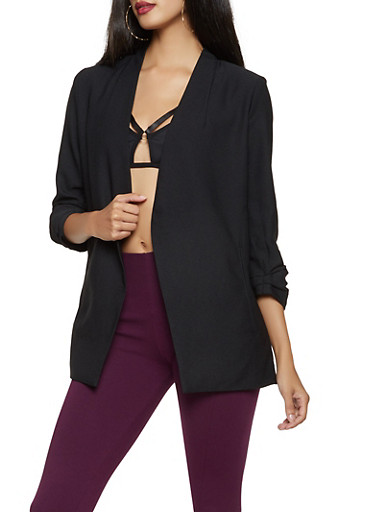 Ruched Sleeve Blazer,BLACK,large