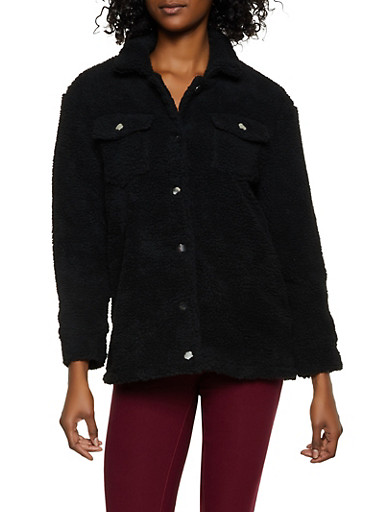 Sherpa Button Front Jacket,BLACK,large