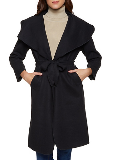 Tie Waist Wrap Coat,BLACK,large