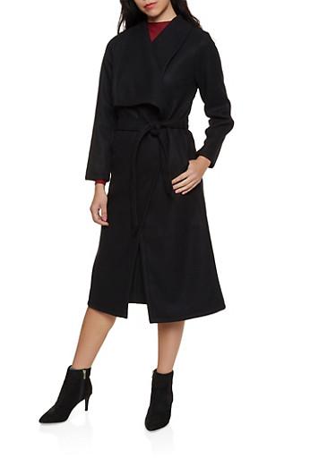 Belted Wrap Coat,BLACK,large