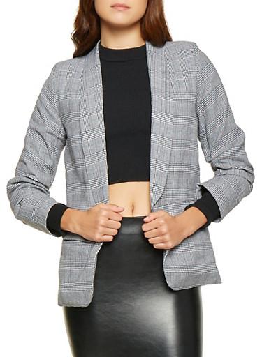 Plaid Ruched Blazer,BLACK/WHITE,large