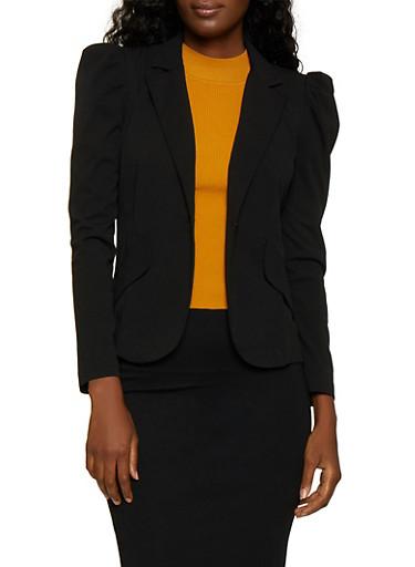 Ruched Shoulder One Button Blazer,BLACK,large