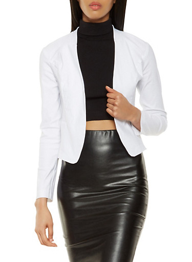 Open Front Stretch Blazer,WHITE,large