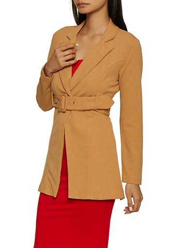 Belted Long Blazer,BROWN,large