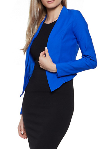 Asymmetrical Stretch Open Front Blazer,RYL BLUE,large