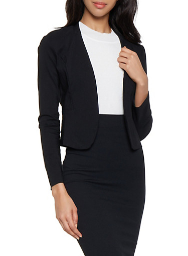 Stretch Open Front Blazer,BLACK,large