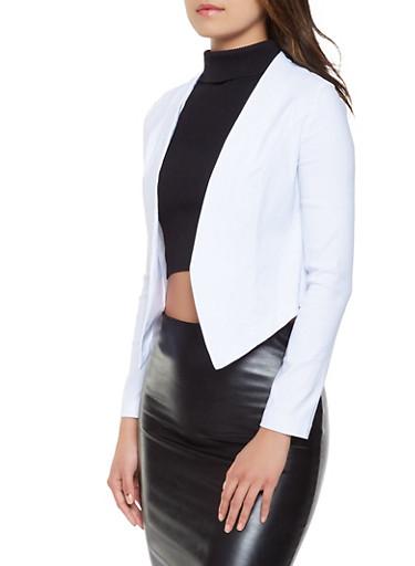 Solid Stretch Blazer,WHITE,large