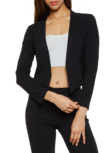 Stretch Solid Blazer,BLACK,large