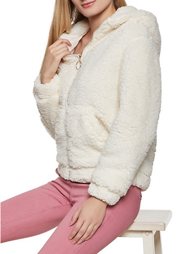 Hooded Sherpa Zip Front Jacket,IVORY,large