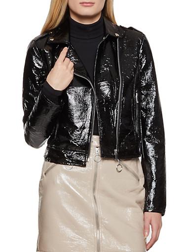 Crinkled Faux Patent Leather Moto Jacket,BLACK,large