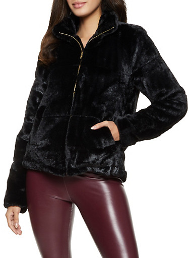 Faux Fur Collared Zip Front Jacket,BLACK,large