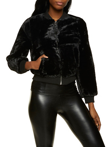 Faux Fur Zip Up Bomber Jacket,BLACK,large