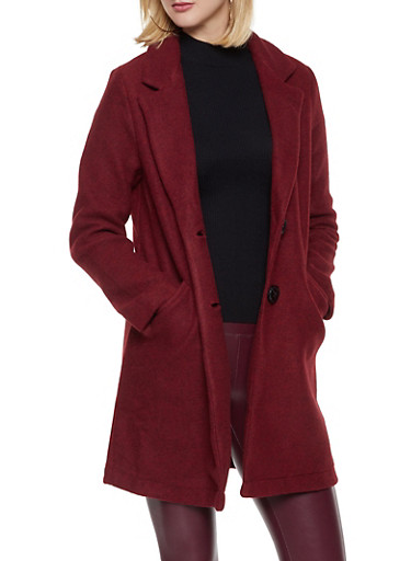2 Button Faux Wool Peacoat,RED,large