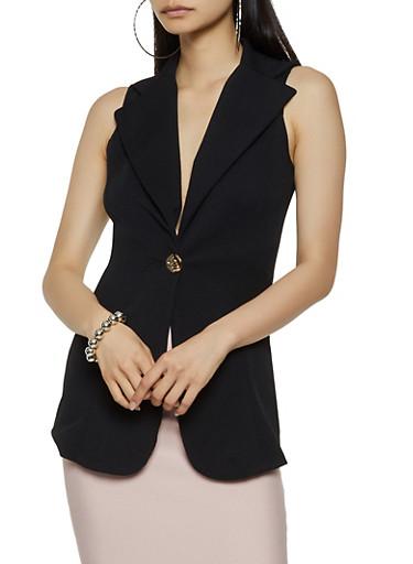 Sleeveless Textured Knit Blazer,BLACK,large