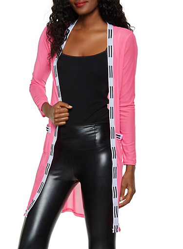Striped Trim Mesh Duster,NEON PINK,large