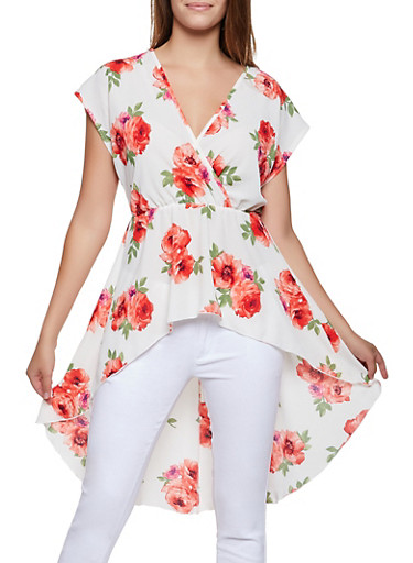 Faux Wrap Floral High Low Top,IVORY,large