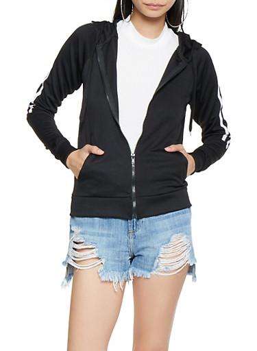 Varsity Stripe Track Jacket,BLACK/WHITE,large