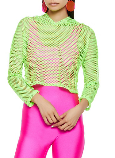 Fishnet Hooded Crop Top,NEON LIME,large
