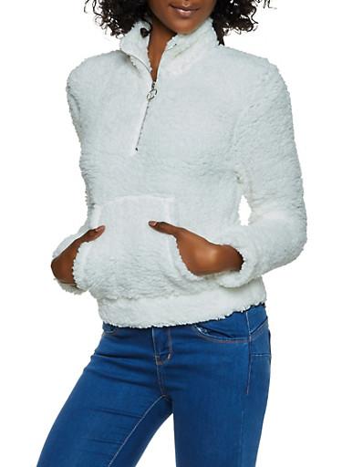 Sherpa Half Zip Sweatshirt,WHITE,large