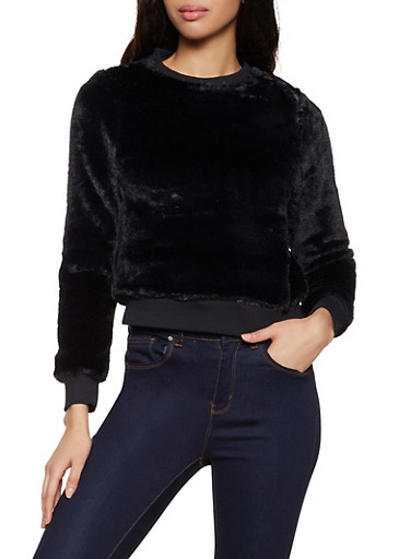 Faux Fur Long Sleeve Sweatshirt,BLACK,large