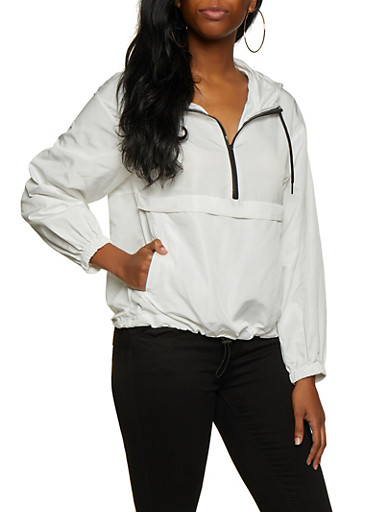 Contrast Trim Half Zip Windbreaker,WHITE,large