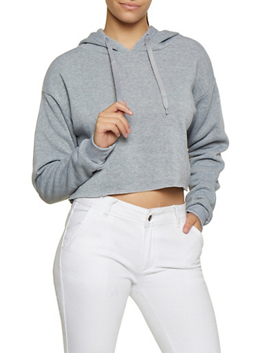 Oversized Raw Hem Sweatshirt,HEATHER,large