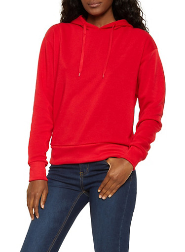 Hooded Fleece Lined Sweatshirt,RED,large