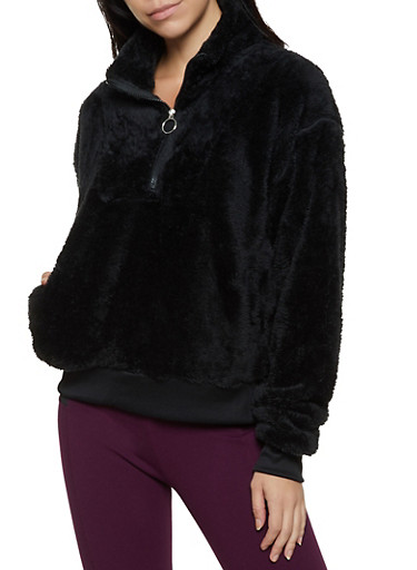Faux Fur Half Zip Sweatshirt,BLACK,large