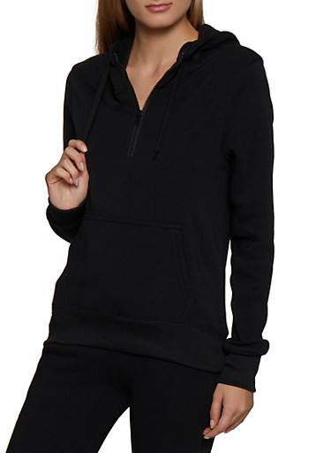 Hooded Half Zip Sweatshirt,BLACK,large