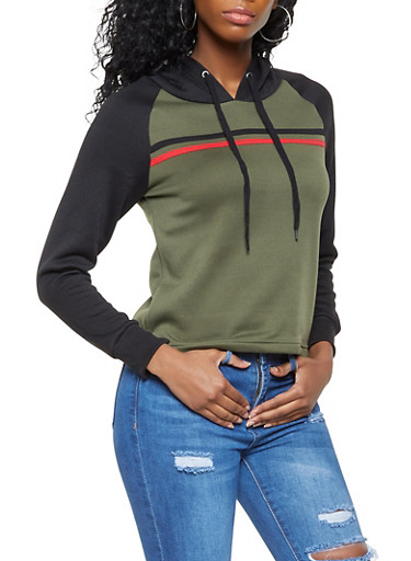 Hooded Color Block Sweatshirt,BLACK,large