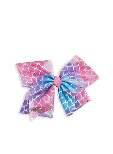 JoJo Siwa Tie Dye Mermaid Scale Print Bow Clip,MULTI COLOR,large