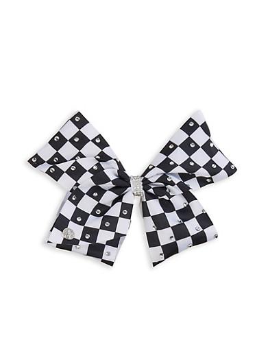 JoJo Siwa Checkered Bow Clip,BLACK/WHITE,large