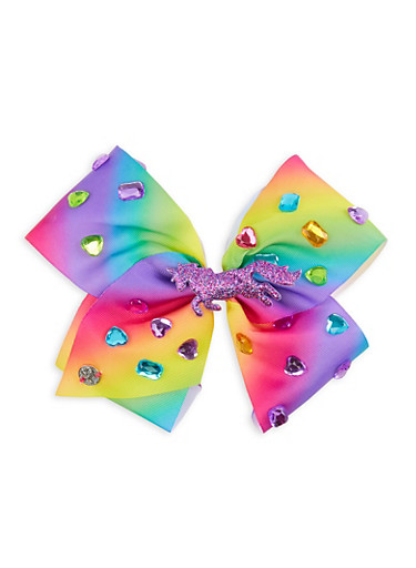 JoJo Siwa Jewel Unicorn Bow Clip,MULTI COLOR,large