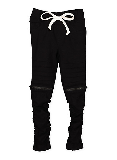 Girls 4-6x Ruched Hyperstretch Moto Jeggings,BLACK,large