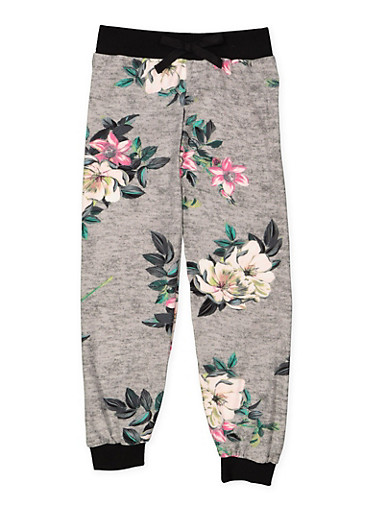 Girls 4-6x Floral Soft Knit Joggers,HEATHER,large