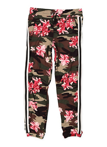 Girls 4-6x Side Tape Printed Joggers,MULTI COLOR,large