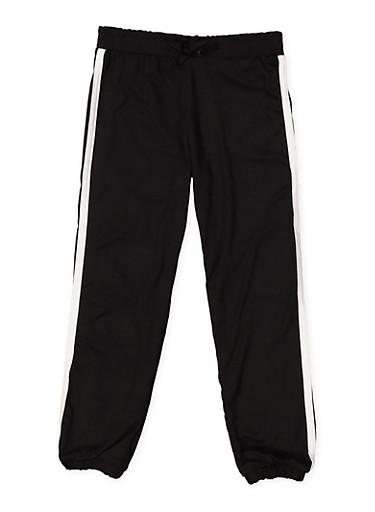 Girls 4-6x Varsity Stripe Soft Knit Joggers,BLACK,large