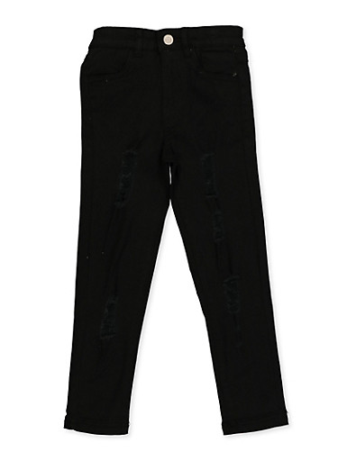 Girls 4-6x Twill Distressed Skinny Pants,BLACK,large