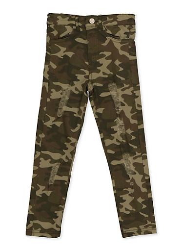 Girls 4-6x Distressed Camo Twill Skinny Pants,GREEN,large