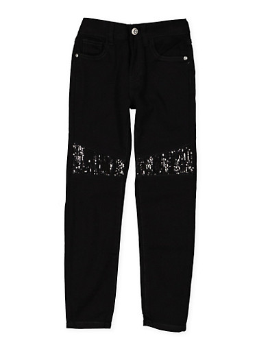 Girls 7-16 Sequin Detail Twill Pants,BLACK,large